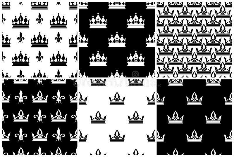 Wektor koronuje bezszwowych wzory ustawiających w czarny i biały royalty ilustracja