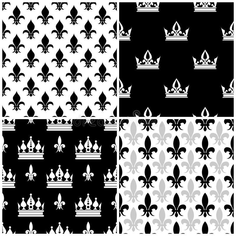 Wektor korony i Fleur De Lis bezszwowi wzory ustawiają w czerni royalty ilustracja