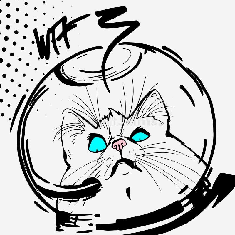 Wektor, kot, przestrzeń, grafika, linia kreskówka, komiczki, zaskakująca, koszulka druk, monochrom, niebieskie oczy, menchie ostr ilustracja wektor