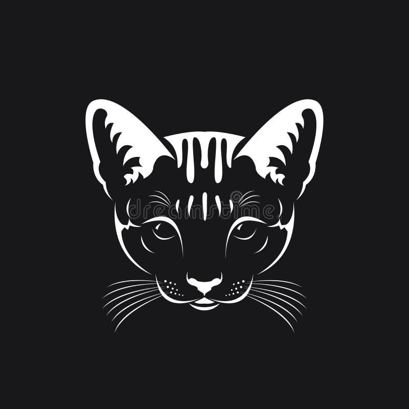 Wektor kot twarz na czarnym tle, zwierzę domowe ilustracji