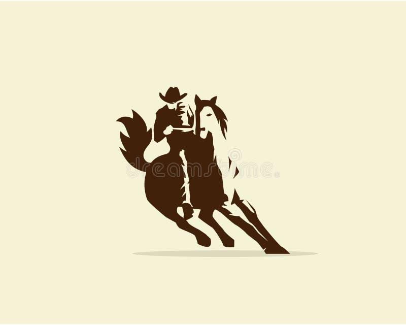 Wektor Kowbojski jeździecki dziki koń ilustracja wektor