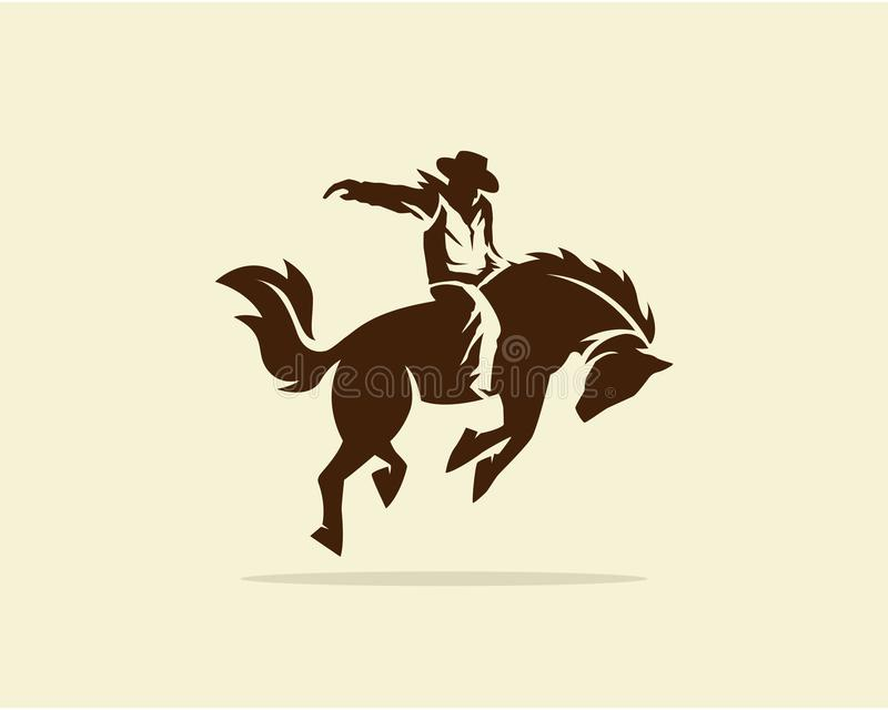 Wektor Kowbojski jeździecki dziki koń royalty ilustracja