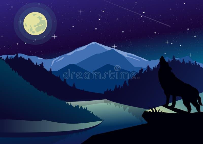Wektor krajobrazowa ilustracja z górami i lasami w nighttime Wilk na wierzchołku wy przy księżyc góra ilustracja wektor