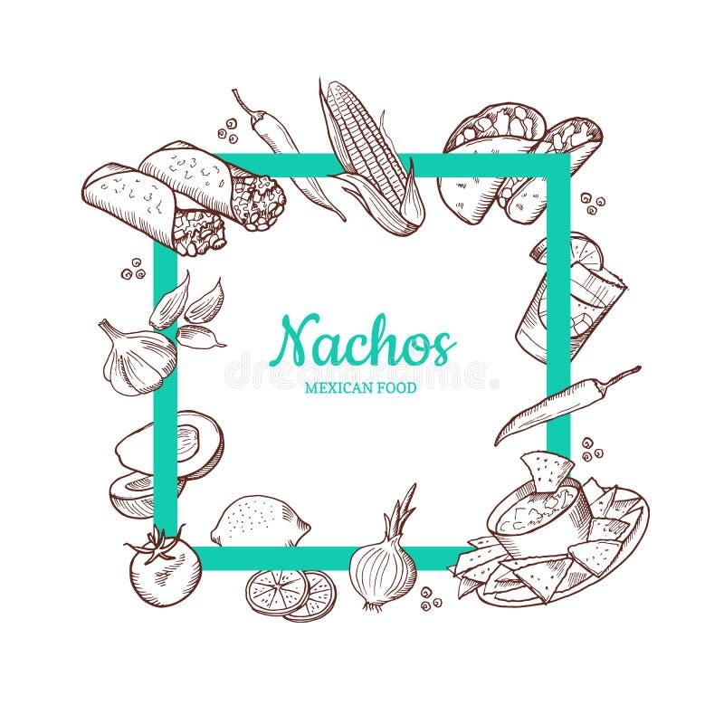 Wektor kreślił meksykańskich karmowych elementy ilustracji