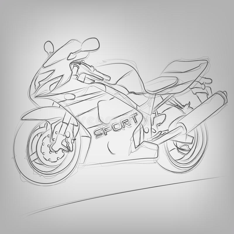 Wektor kreślił motocykl royalty ilustracja