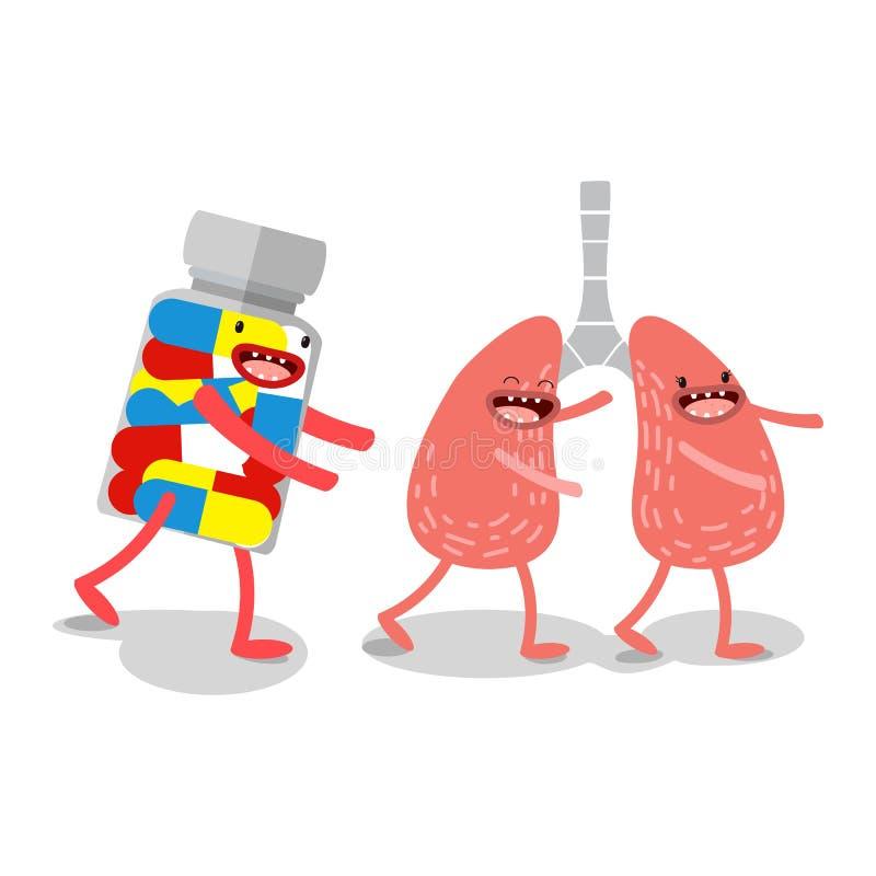 wektor Kreskówka ludzcy organy, który biega medycynę ilustracja wektor