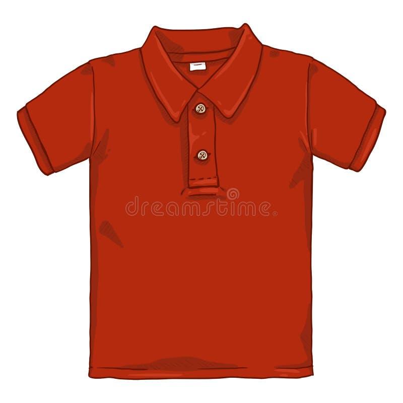 Wektor kreskówki Pojedyncza ilustracja - Czerwona polo koszula royalty ilustracja