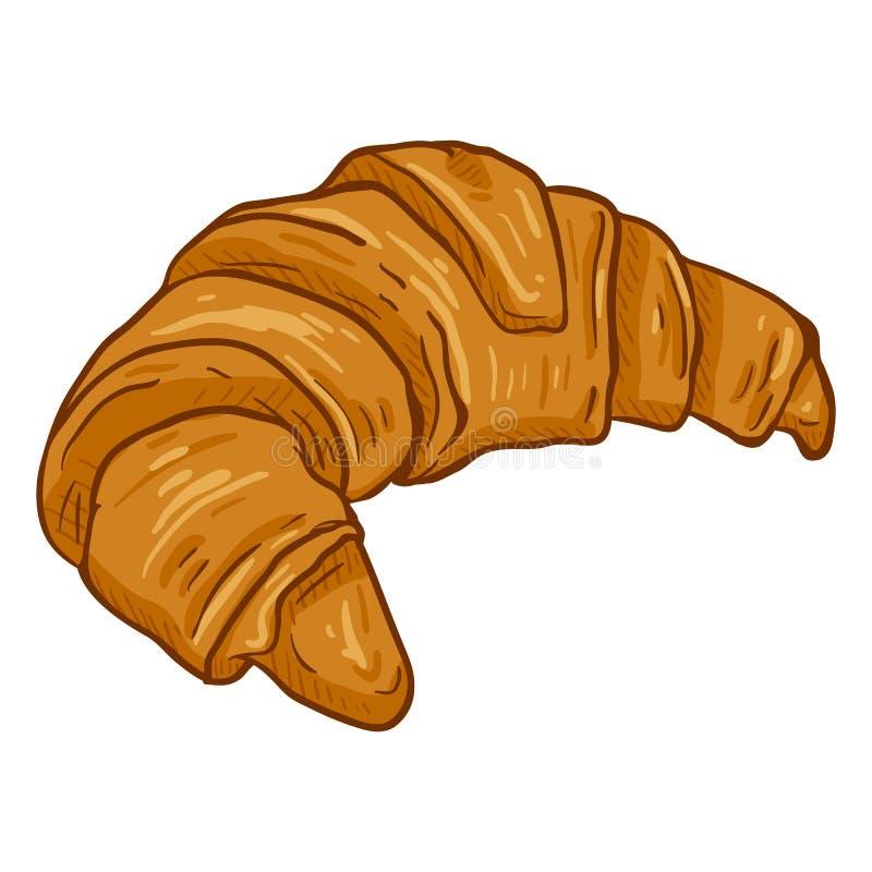 Wektor kreskówki Pojedyncza ilustracja - Skorupiasty Świeży Croissant royalty ilustracja