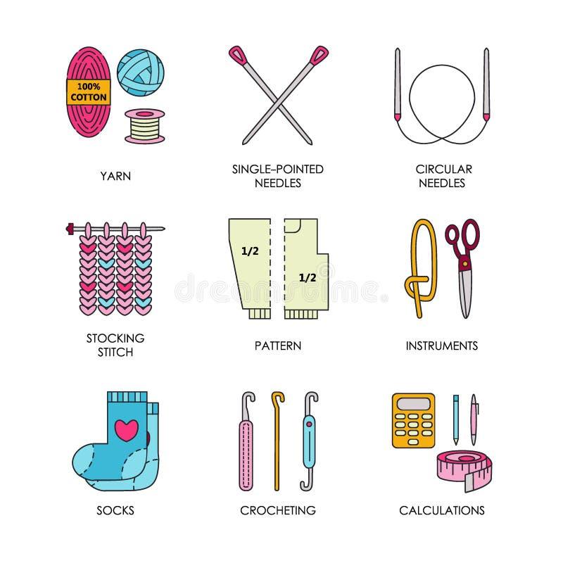 Wektor kreskowe ikony ustawiać dzianie i szydełkują Dziewiarscy elementy: przędza, dziewiarska igła, dzia haczyka, szpilki i inny ilustracji