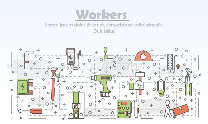 Wektor kreskowej sztuki cienkich pracowników sztandaru plakatowy szablon ilustracji
