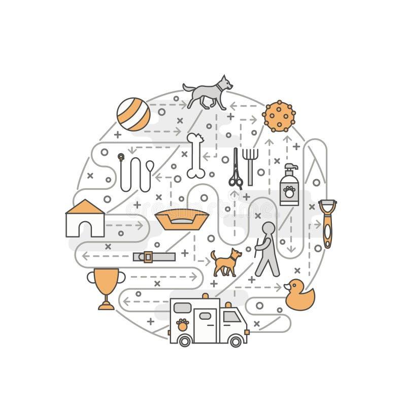 Wektor kreskowej sztuki cienkiego psa sztandaru stażowy plakatowy szablon royalty ilustracja