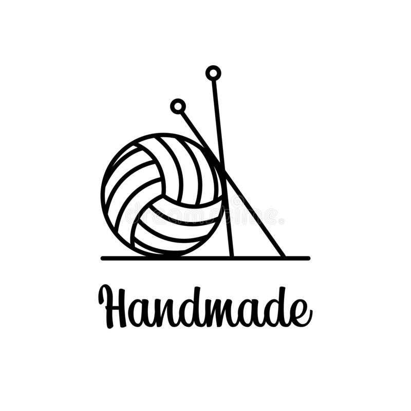 Wektor kreskowej sztuki szyldowa piłka przędza z dziań narzędziami Retro logo dla lokalnego szwalnego sklepu, dzianina klubu, han ilustracja wektor