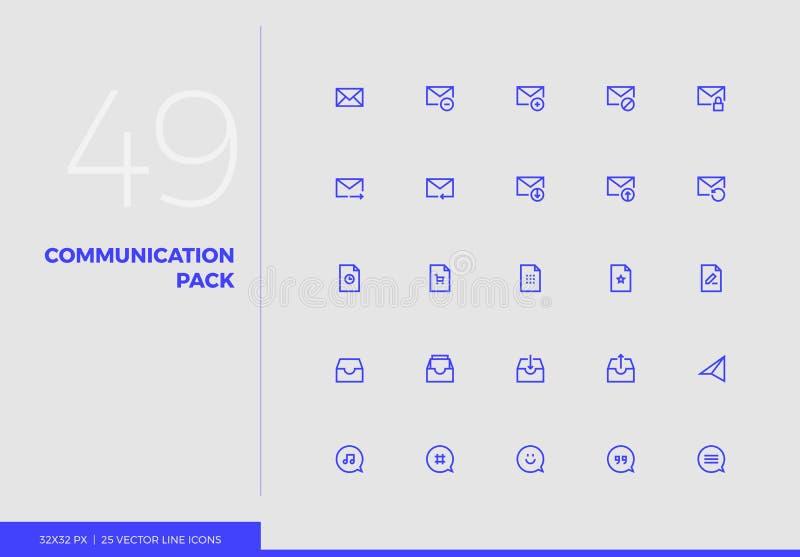 Wektor Kreskowych ikon Komunikacyjna paczka ilustracji