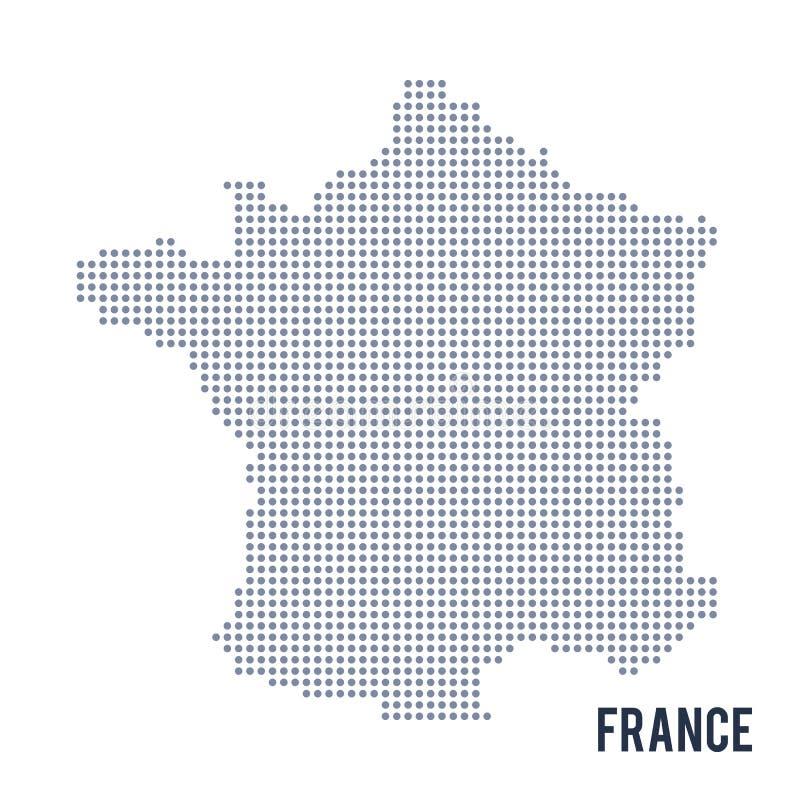 Wektor kropkował mapę Francja odizolowywał na białym tle ilustracja wektor