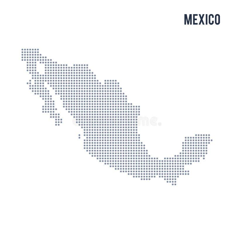 Wektor kropkował mapę Meksyk odizolowywał na białym tle ilustracji