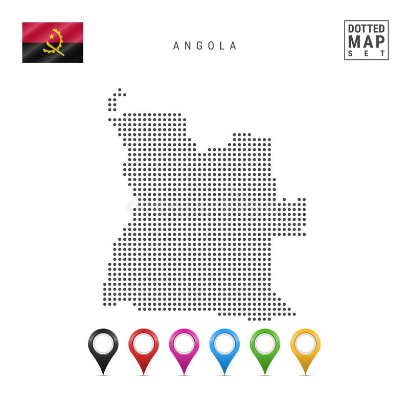 Wektor Kropkująca mapa Angola Prosta sylwetka Angola Flaga państowowa Angola Set Stubarwni mapa markiery royalty ilustracja
