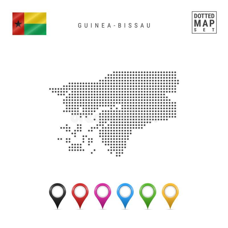 Wektor Kropkująca mapa Bissau Prosta sylwetka Bissau Flaga Bissau Stubarwni mapa markiery royalty ilustracja