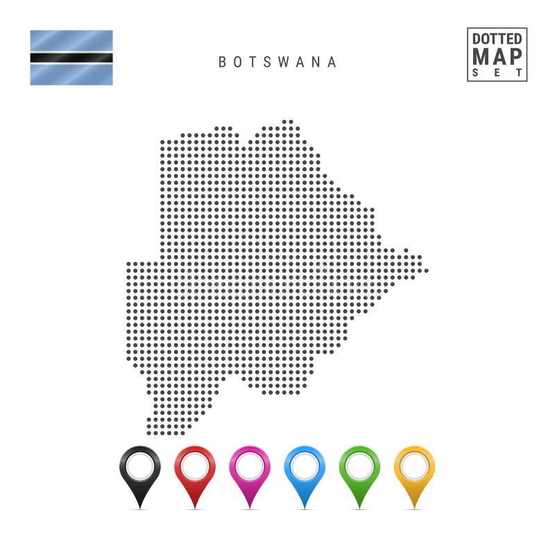 Wektor Kropkująca mapa Botswana Prosta sylwetka Botswana Flaga państowowa Botswana Set Stubarwni mapa markiery ilustracja wektor
