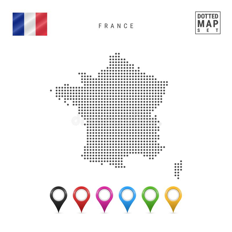 Wektor Kropkująca mapa Francja Prosta sylwetka Francja Flaga państowowa Francja Set Stubarwni mapa markiery royalty ilustracja