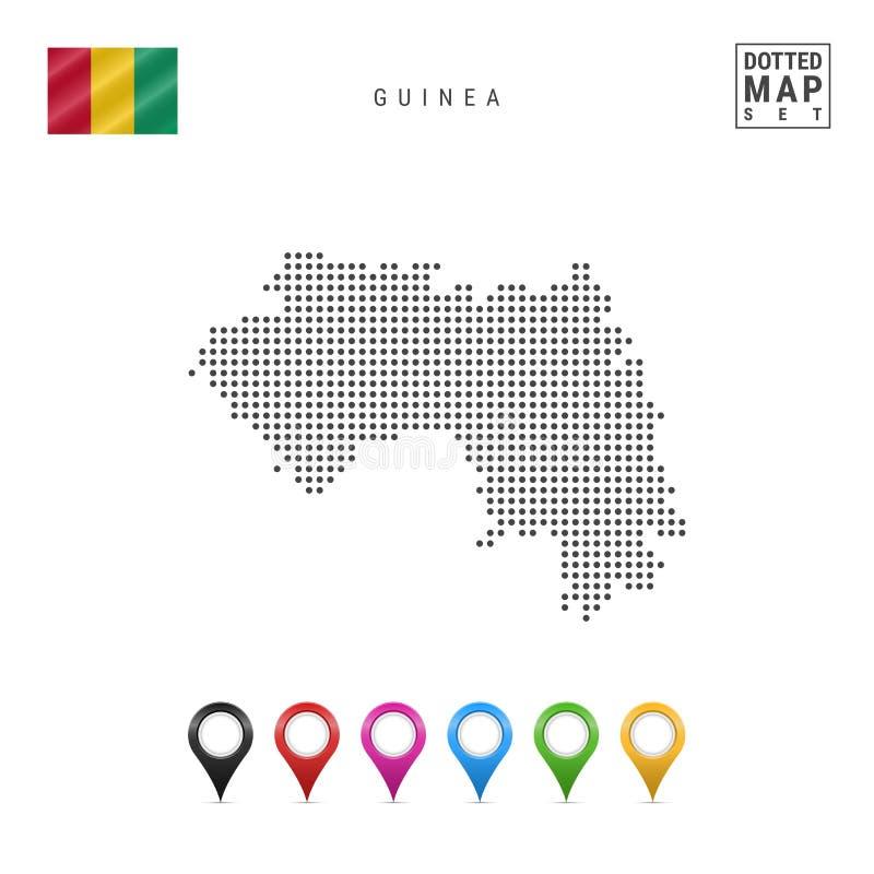 Wektor Kropkująca mapa gwinea Prosta sylwetka gwinea Flaga państowowa gwinea Set Stubarwni mapa markiery royalty ilustracja