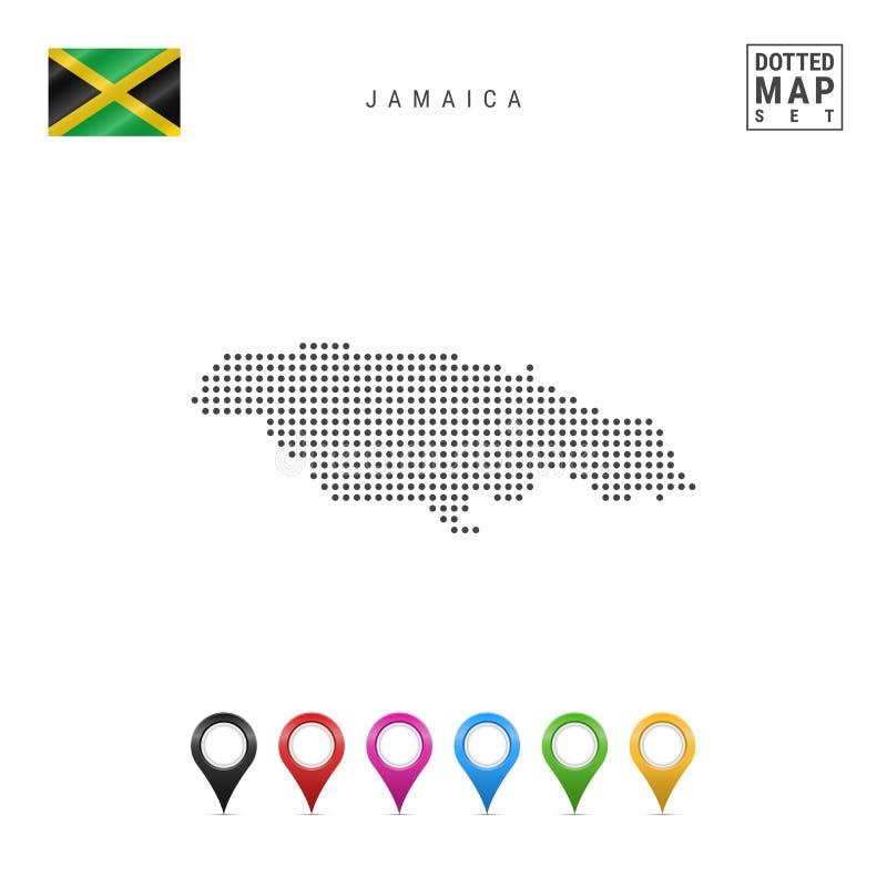 Wektor Kropkująca mapa Jamajka Prosta sylwetka Jamajka Flaga państowowa Jamaica Set Stubarwni mapa markiery ilustracja wektor