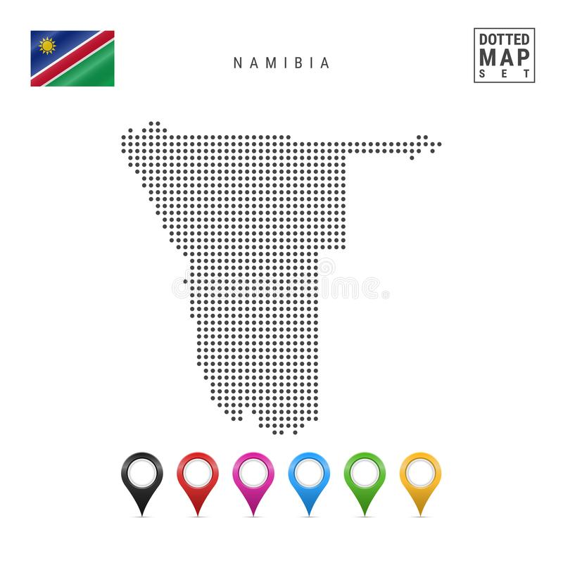 Wektor Kropkująca mapa Namibia Prosta sylwetka Namibia Flaga państowowa Namibia Set Stubarwni mapa markiery royalty ilustracja