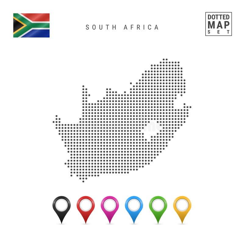 Wektor Kropkująca mapa Południowa Afryka Prosta sylwetka Południowa Afryka Flaga państowowa Południowa Afryka Set mapa markiery ilustracji