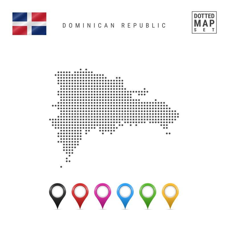 Wektor Kropkująca mapa republika dominikańska Sylwetka republika dominikańska miało dominican republiki ustawiający mapa markiery royalty ilustracja