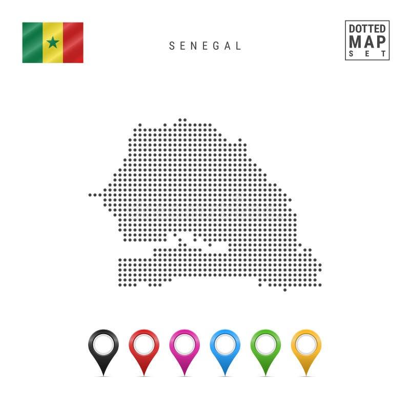 Wektor Kropkująca mapa Senegal Prosta sylwetka Senegal Flaga państowowa Senegal Set Stubarwni mapa markiery ilustracja wektor