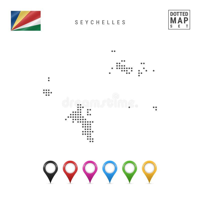 Wektor Kropkująca mapa Seychelles Prosta sylwetka Seychelles Flaga państowowa Seychelles Stubarwni mapa markiery ilustracji
