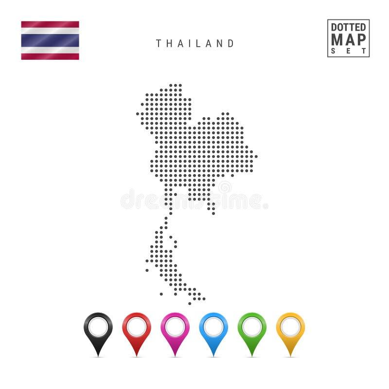 Wektor Kropkująca mapa Tajlandia Prosta sylwetka Tajlandia Flaga państowowa Tajlandia Set Stubarwni mapa markiery ilustracja wektor
