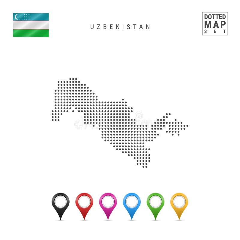 Wektor Kropkująca mapa Uzbekistan Prosta sylwetka Uzbekistan Uzbekistan bandery Set Stubarwni mapa markiery ilustracji