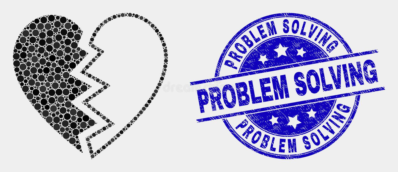 Wektor Kropkująca złamane serce ikona i cierpienia rozwiązywanie problemów Watermark ilustracji