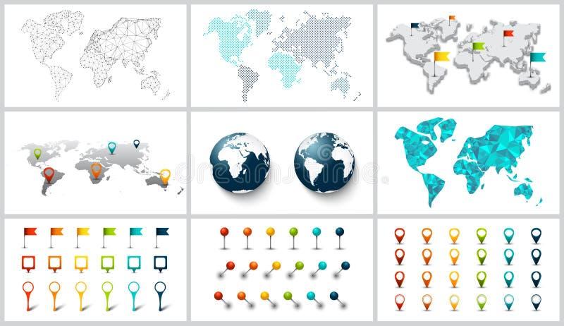 Wektor kropkujący, związek, poligonalny, i 3d światowa mapa royalty ilustracja