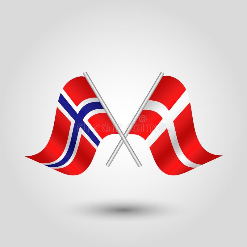 Wektor krzyżował norweskie i duńskie flaga na srebnych kijach - symbol Norway i Denmark royalty ilustracja