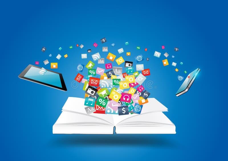 Wektor książka z telefonami komórkowymi i pastylka komputerem royalty ilustracja
