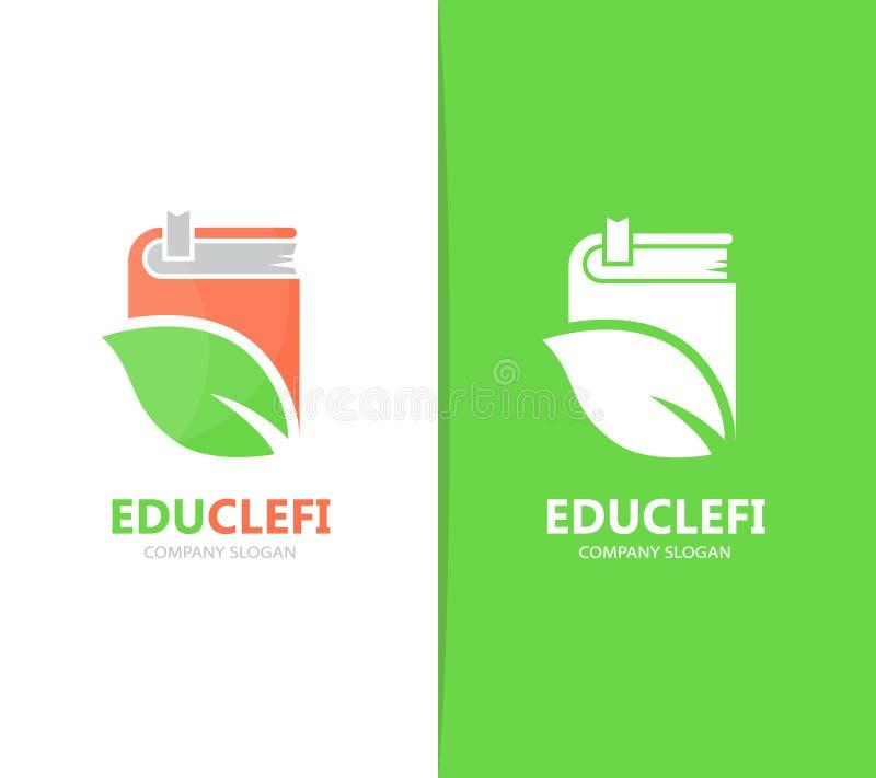 Wektor książki i liścia loga kombinacja Biblioteka, eco ikona i symbol lub Unikalny organicznie i bookstore logotypu projekt ilustracja wektor