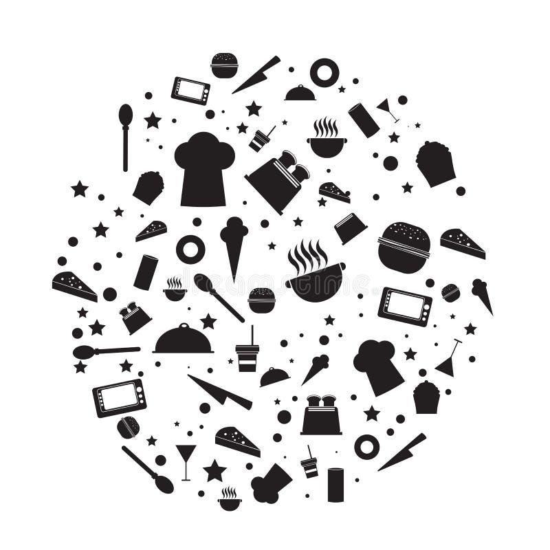 Wektor kuchni narzędziowe i karmowe ikony ilustracji