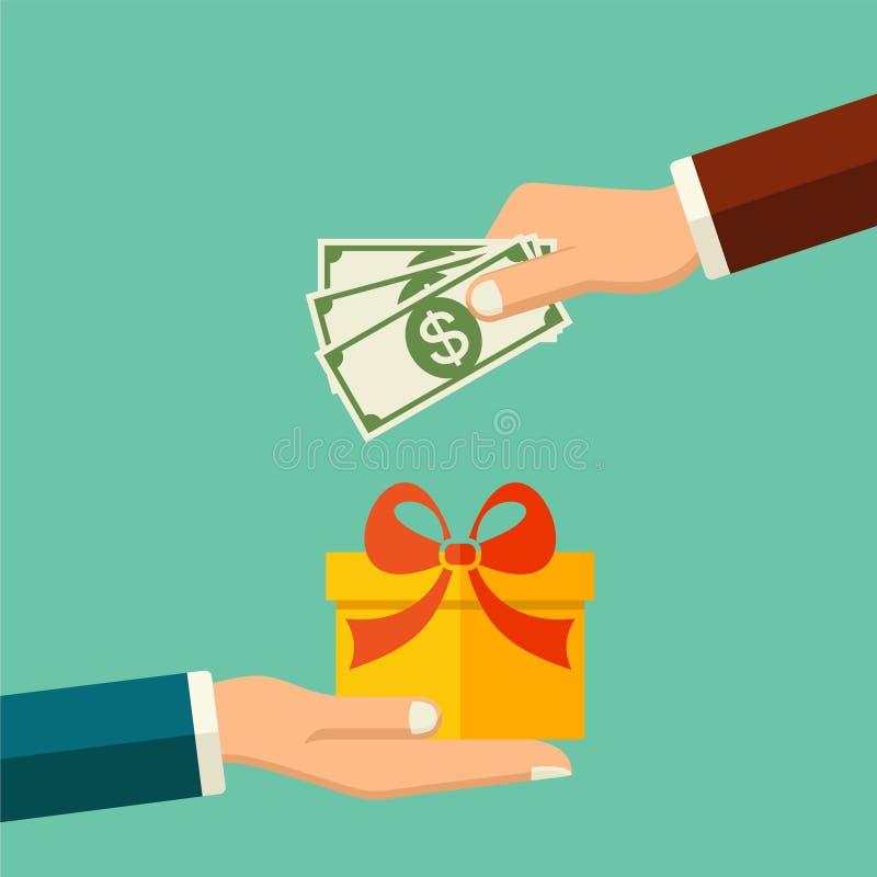 Wektor kupuje prezent, mieszkania stylowy pojęcie Ludzka ręka z dolarowym pieniądze i inna ręka z teraźniejszym prezenta pudełkie royalty ilustracja