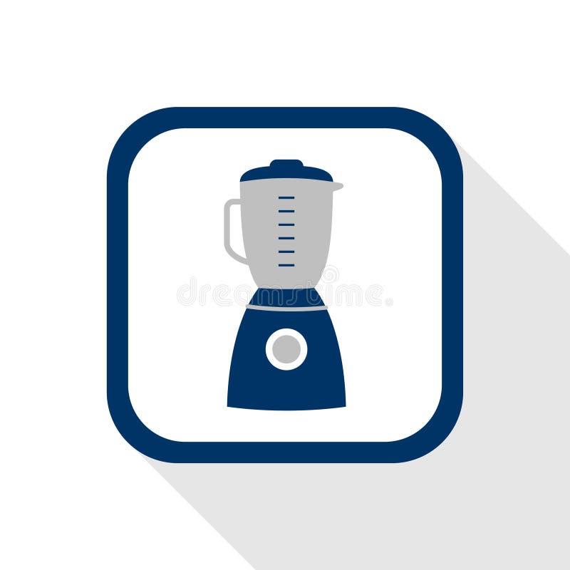 Wektor kwadratowej błękitnej ikony domowy urządzenie z zaokrąglonymi kątami i cień długo - symbol blender w płaskim projekcie royalty ilustracja