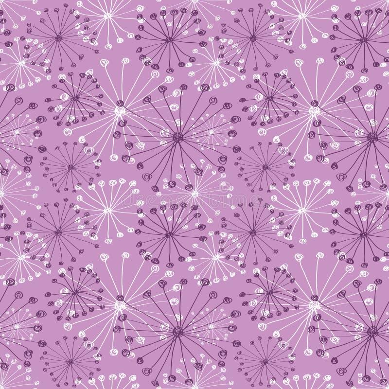 wektor kwiecista deseniowa bezszwowa tapeta Różowa ręka rysujący tło z abstrakcjonistycznymi kwiatami ilustracja wektor