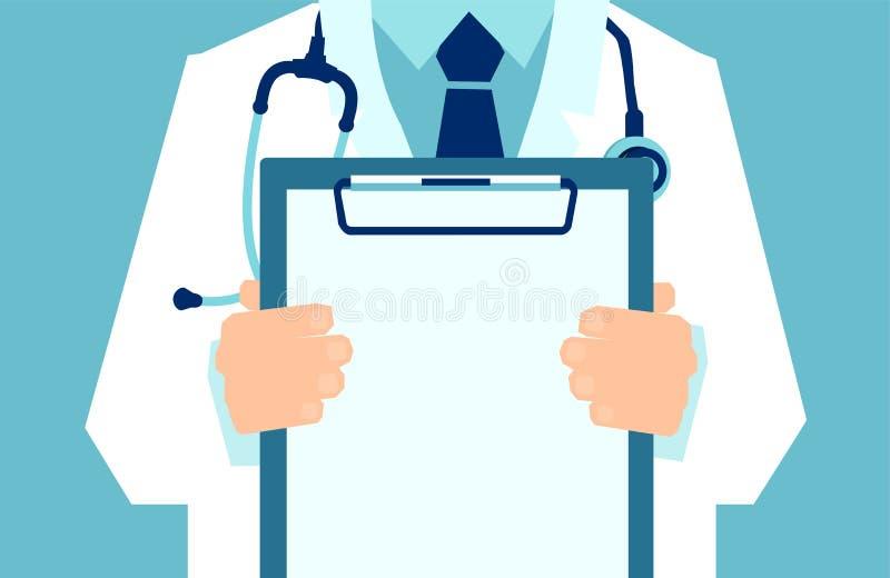 Wektor lekarka trzyma schowek pokazuje pustego dokument z lab żakietem ilustracja wektor