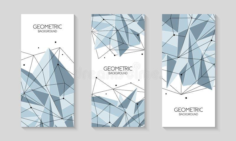 Wektor linie, kropki i trójboków kształty, złączona sieć Broszurka szablon, okładkowy układ, magazyn, ulotka projekt ilustracji