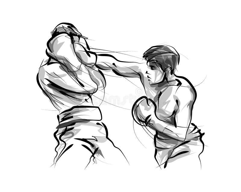 Wektor linii nakreślenia boksery ilustracja wektor