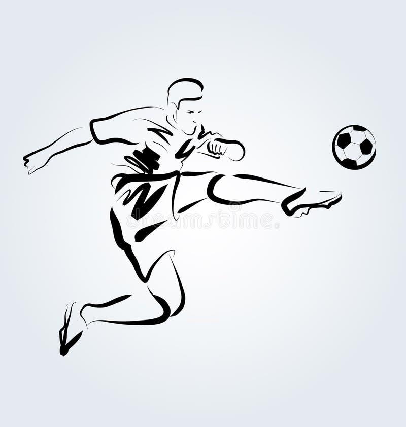 Wektor linii nakreślenia futbolista ilustracja wektor