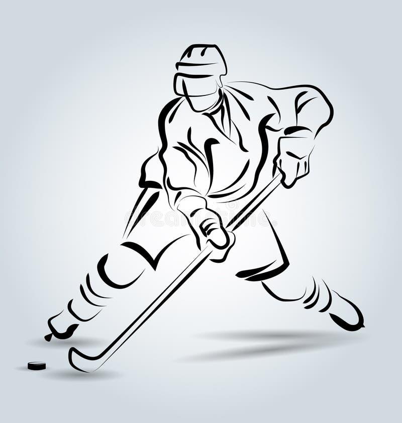 Wektor linii nakreślenia gracz w hokeja ilustracji