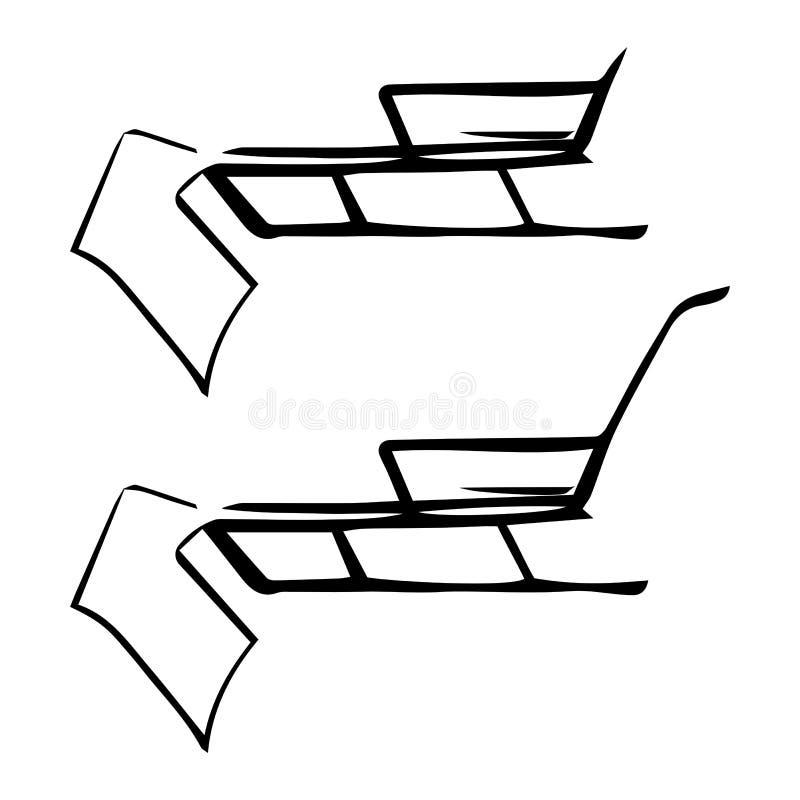 Wektor linii nakreślenie saneczki czarny white ilustracja wektor