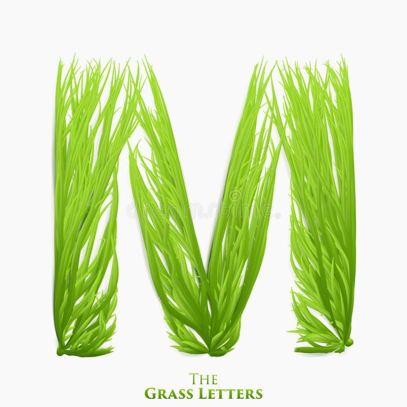 Wektor listowy soczysty trawy abecadło M Zielony M symbolu składać się z narastająca trawa Realistyczny abecadło organicznie royalty ilustracja