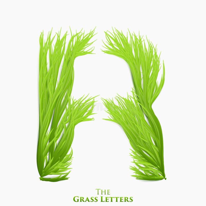 Wektor listowy soczysty trawy abecadło R Zielony R symbolu składać się z narastająca trawa Realistyczny abecadło organicznie royalty ilustracja