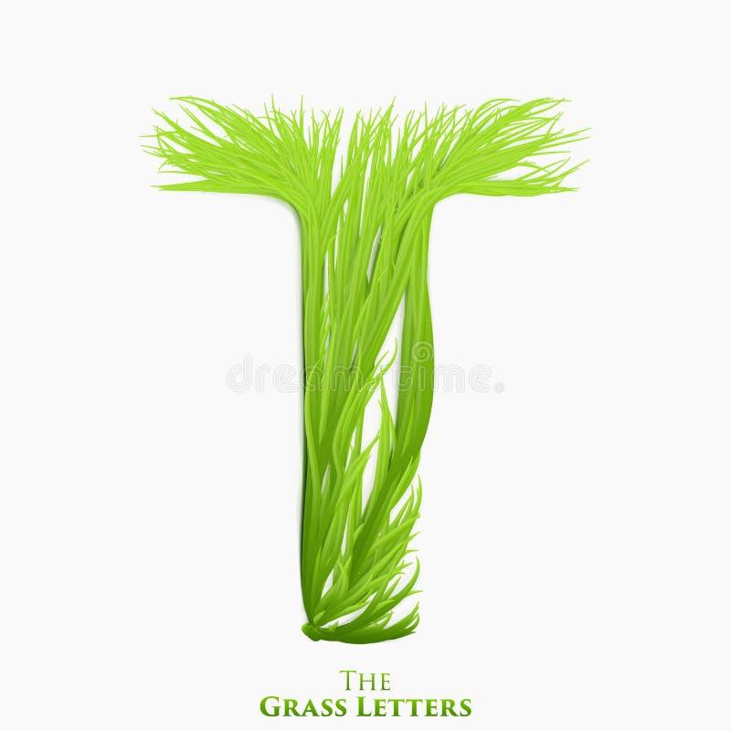 Wektor listowy soczysty trawy abecadło T Zielony T symbolu składać się z narastająca trawa Realistyczny abecadło organicznie ilustracja wektor